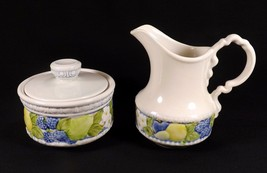 Metlox Florence Vernon Ware Creamer & Sugar Bowl With LID-RAISED Fruit Design - $18.99