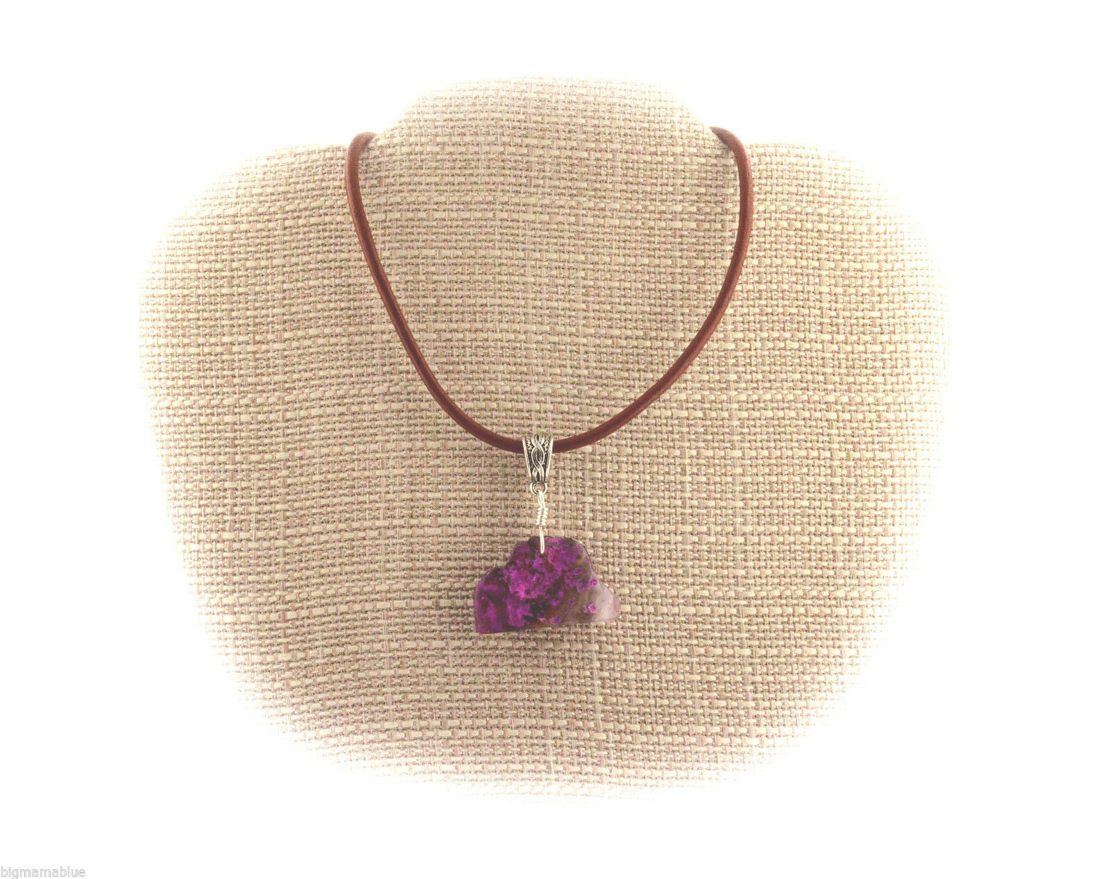 Pink Dyed Agate Wire Wrap Pendant Necklace A68-07 Leather Cord FREE GIFT BOX
