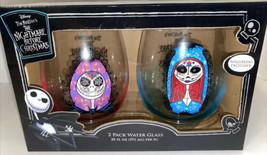 NIGHTMARE BEFORE CHRISTMAS SUGAR SKULLS WINE WATER GLASS SET JACK & SALL... - $46.74