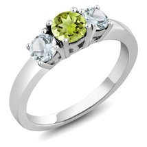 1.04 Ct Round Green Peridot Sky Blue Aquamarine 925 Sterling Silver Wome... - $115.18