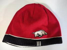 ARKANSAS RAZORBACK Knit Beanie Style Reversible Hat Cap Red White - $11.26