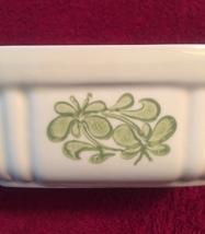 Vintage 80s light yellow Pfaltzgraff 16oz baking dish with green floral design image 2