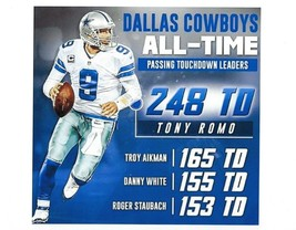 TONY ROMO 8X10 PHOTO DALLAS COWBOYS ALL-TIME TD LEADERS PICTURE WIDE BORDER - $3.95