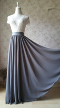 High Waisted Chiffon Maxi Skirt GRAY Wedding Party Bridesmaid Maxi Chiffon Skirt image 3
