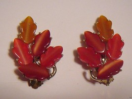 Vintage LISNER Earrings Bright/light Red Shades of Autumn 'Jelly' Leaves - $34.95