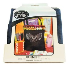 Next Style Denim Tote to Decorate, 13.5 x 13.5 x 3.5 Inches, 16 Inch Strap
