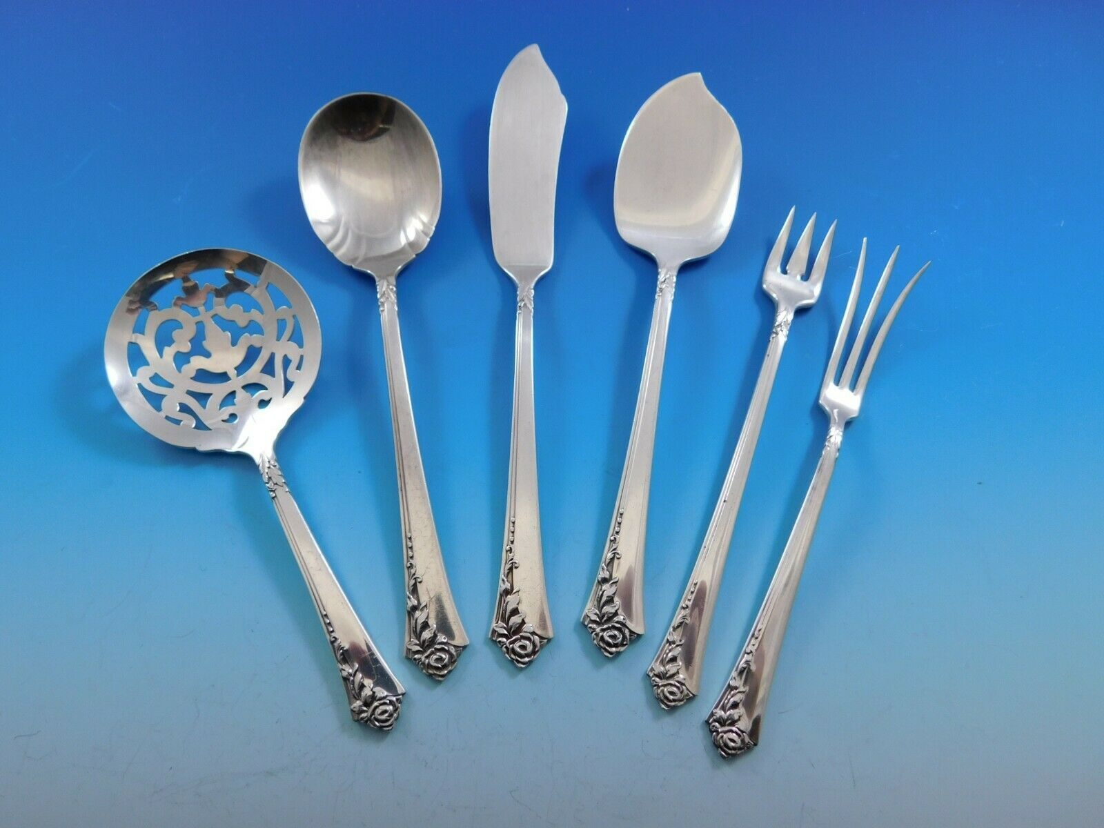Primary image for Damask Rose by Oneida Sterling Silver Essential Serving Set Small 6-piece