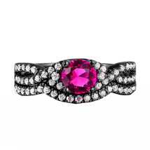 Sterling Silver 925 Solid Ruby & Simulated Diamond Bridal Engagement Ring Set  - $99.99