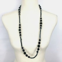 """TALBOTS faceted glass beaded necklace - smoky gray silver single strand 34"""" long - $19.60"""