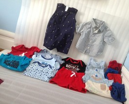 Baby Boy 3/6/12 Mth Lot Clothes 16 Piece Shirt Rompers Onies Short Pants... - $21.78