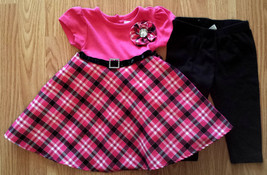 Girl's Size 12 M Two Piece Pink/ Black Plaid Youngland Jeweled Dress + L... - $14.00