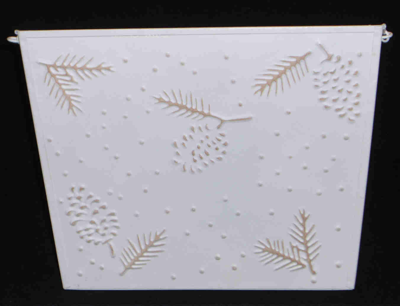 Hallmark Metal Card Holder Wall Hanger Beige Pine Berries