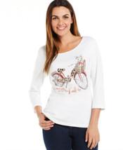 Karen Scott White Women's Size Xl Bicycle-print Cruisin' Knit Top $32 - $14.85