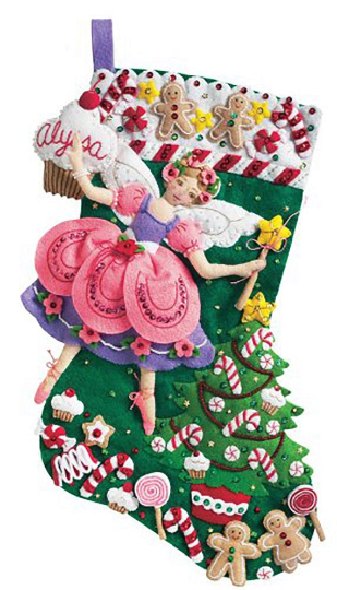 Primary image for Bucilla 'Sugar Plum Fairy' Felt Christmas Stocking Stitchery Kit, 85431