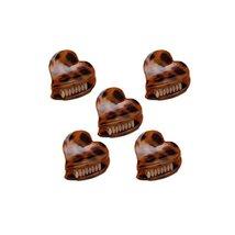 5Pcs Lovely Leopard Mini Heart Shape Fringe Bangs Jaw Clips Hair Claws, ... - $13.76