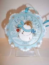 "Fenton Glass ""Let It Snow"" Snowman Christmas Ornament Ltd Ed #31/35 K Barley - $125.62"