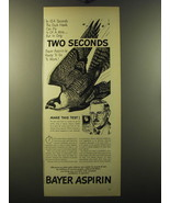 1949 Bayer Aspirin Ad - In 10.4 seconds the duck hawk can fly 1/5 of a mile - $14.99