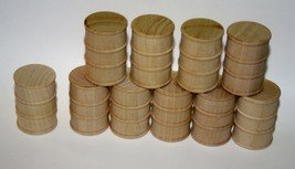 10 Wooden Oil drums, barrel for trains crafts dollhouse 1 5/8 tall 1:24 - $8.99