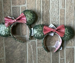 NWT Disney Minnie Mouse Ears Headband Sequin Green Mint And Pink 2019 2x - $38.70