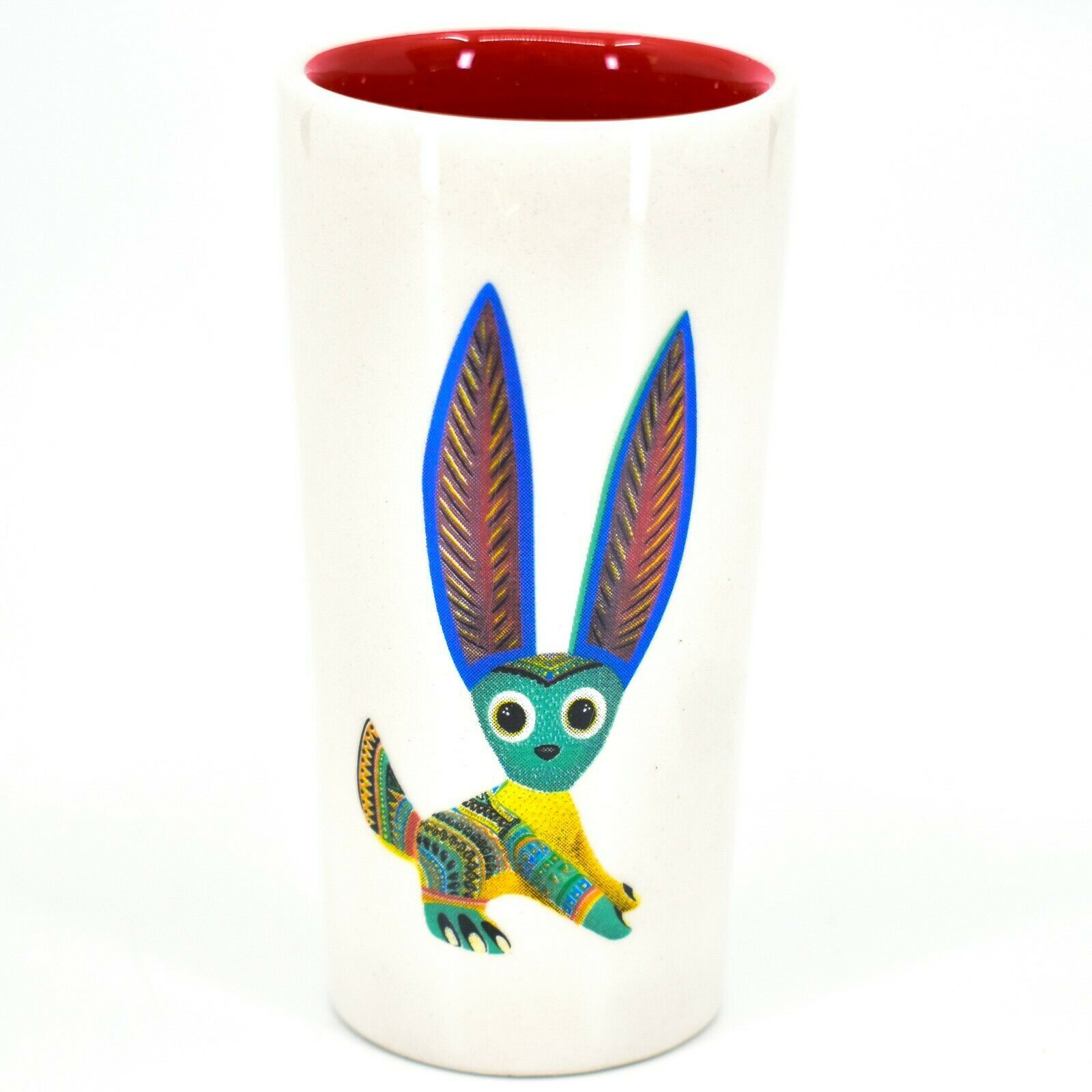 Jack Rabbit Alebrije Printed Ceramic Tequila Shot Glass Shooter Made in Mexico