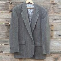 Mens Land's End Harris Tweed Scottish Wool Gray Herringbone Jacket Blazer - $29.69