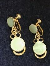 Vintage Light Green Enamel Flat Circle & Goldtone Accents Dangle Screwba... - $11.29
