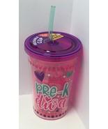 "Kipp Brothers Reusable BPA Free 10oz ""Pre-K Diva"" Printed Cup W/Straw - $8.86"