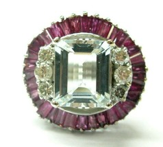 Grand Aigue-Marine Ruby & Bague Diamant 14Kt or Blanc 8.90Ct - $3,066.55