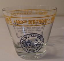 West Virginia 100th Birthday Glass State Seal Tumbler 1863-1963 Mountain