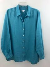 J Jill Love Linen Essential Shirt Womens Large Robins Egg Blue Button A1... - $24.14