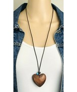American Eagle Outfitters AEO Wooden Puffy Heart Pendant BOHO Necklace - €12,32 EUR