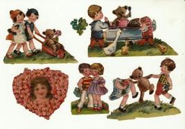 Vintage Victorian diecut scrap embossed tole painting for children furni... - $7.91