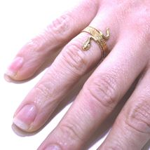 18K ROSE GOLD MAGICWIRE MULTI WIRES RING, ELASTIC WORKED SNAKE, WHITE TOPAZ image 4