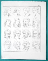 HUMAN EMOTIONS Face Expressions Joy Anger Pain Laugh etc - 1828 Antique ... - $21.60