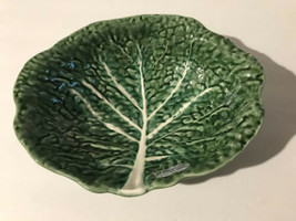 NEW Olfaire Pottery Green Cabbage White Veins 3 Footed Bowl Made In Port... - $69.29