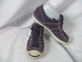 Converse Jack Purcell  7.5 -Purple /white canvas low top lace up sneakers  - $25.24