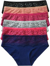 Tobeinstyle Women'S Pack Of 6 No Show Front Lace Band Bikini Panties - $25.23