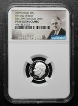 2019 S Silver Proof Roosevelt Dime NGC PF69  First Day .999 Coin SKU C40