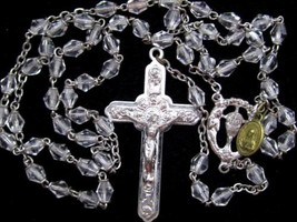Vintage IHS Italy Silver Plate Catholic Rosary Crystal Bead Vintage Neck... - $84.10