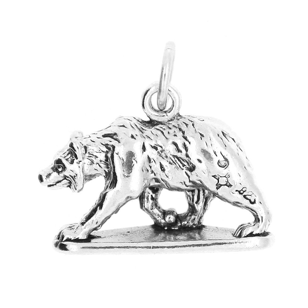 STERLING SILVER TRAVEL 3D BEAR BAR HARBOR MAINE CHARM PENDANT