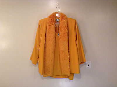 Deep Yellow Jacket and Sleeveless Top Faux Fur Trim on Jacket KB Size 24W