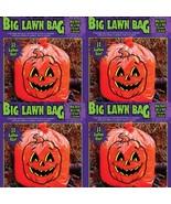 "Jack O Lantern Leaf Bag Pumpkin Halloween Decor Lawn Sack 36"" x 48"" Lot of 4 New - $12.86"