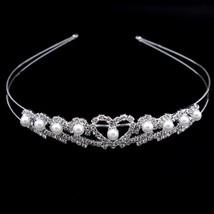 New Shiny Crystal Rhinestone Pearl Headband Wedding Bridal Silver Hairwe... - £6.42 GBP