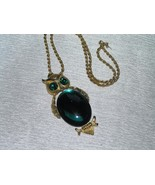 Vintage Monet Signed Twist Goldtone Chain w Large DODDS Green Jelly Bell... - $21.39
