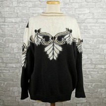 Vintage 80s Black White Angora Sweater Embellished Womens Top Shirt - $35.76