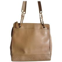 Vintage CHANEL brown beige caviar leather chain tote bag, shoulder purse... - $1,092.00