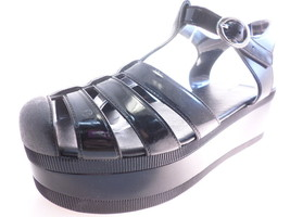Wanted Jellypop Womens Wedges Ankle Strap Sandals Rubber Black Size 7 M - $39.96