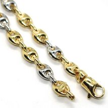 18K YELLOW WHITE GOLD MARINER BRACELET 5 MM, 8.5 INCHES, ANCHOR ROUNDED LINK image 3