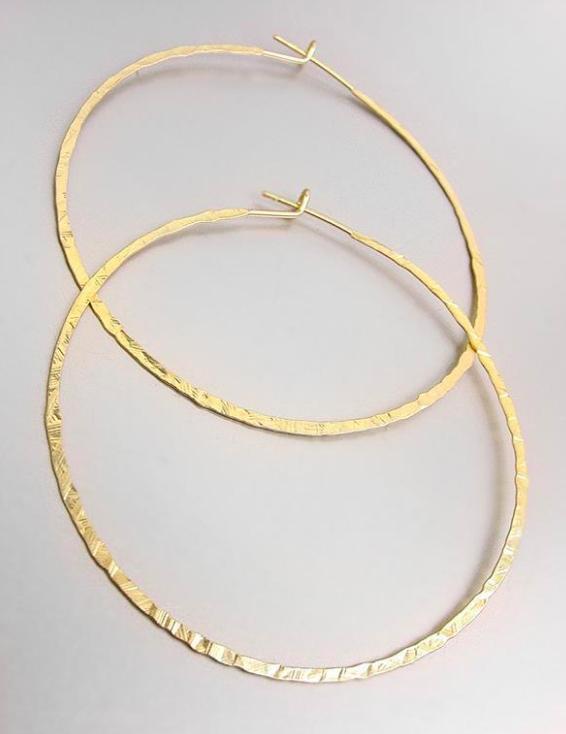 """CHIC Lightweight Urban Anthropologie Mat Gold 1 3/4"""" Round Flat Hoop Earrings - $12.99"""