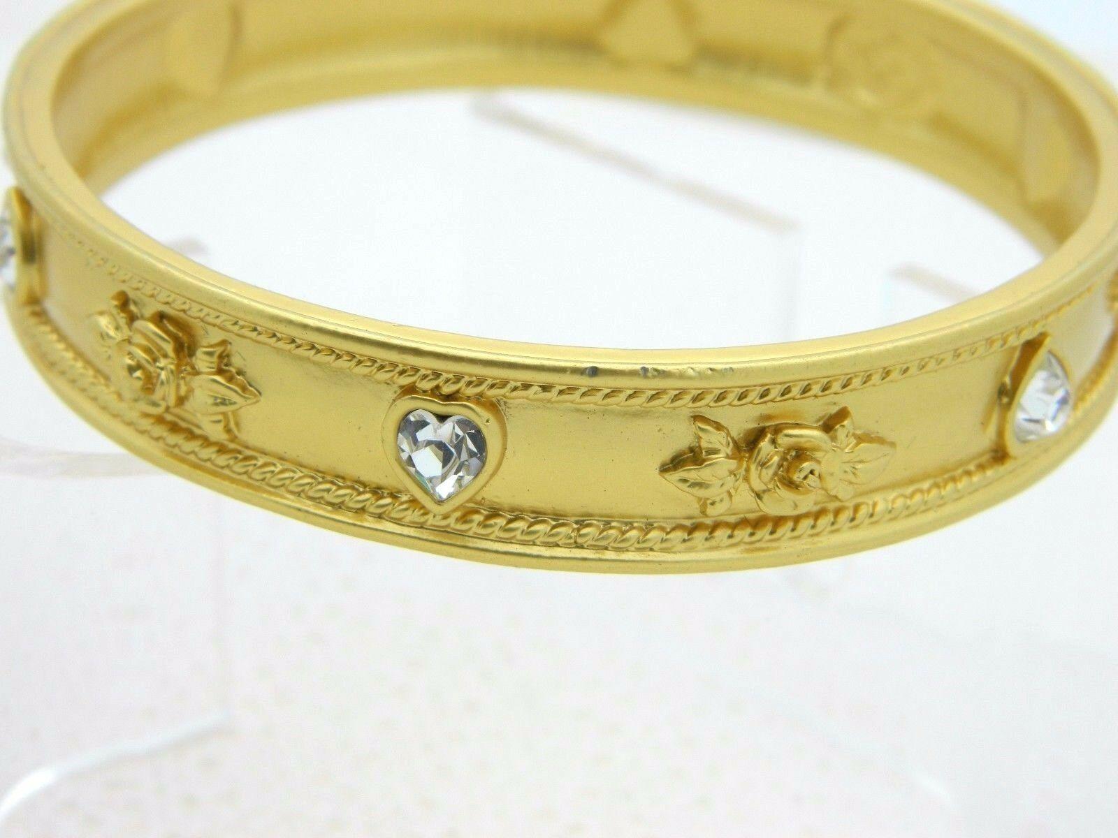 Elizabeth Taylor Avon LOVE BLOOMS Roses & Hearts 22K GP Vintage Bangle Bracelet image 3